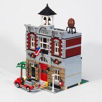 15004 84004 Creator 2313Pcs City Street Series Fire Brigade Model Building Brick Compatible 10197 Children Toys Gifts