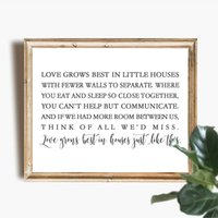 Wholesale best seascape oil paintings for sale - Group buy Love Grows Best in Little Houses Like This Canvas Art Poster Prints Family Love Sign Art Painting Housewarming Gifts Home Decor