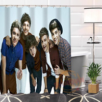 Wholesale nice curtains resale online - Best Nice Polyester Hot Modern Custom One Direction Fabric Shower Curtain bathroom Waterproof Popular H0223 T200711