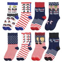 Wholesale basketball socks sale for sale - Group buy Trump General Election Socks Letter Stock MAGA Cottons Basketball Sport President Flag Of The United States Hot Sale kf E2