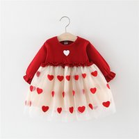 Wholesale marked baby for sale - Group buy KINE PANDA Baby Girl Kids Clothes Girls Dress Spring Red Love Mark Mesh Years Old Height cm Korea Princess Style
