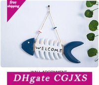 Wholesale Creative wooden fish bone welcome card Marine hanging decoration handicraft decoration photo wall partner