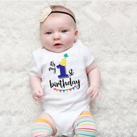 Wholesale baby boys party clothes resale online - Newborn Baby Short sleeved Baby Rompers My First Birthday Letter Print Girls Boys Clothes Baby Boy Birthday Party Clothes M