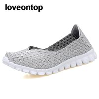 Wholesale casual loafers weave resale online - Loveontop New Summer Women Flats Handmade Shallow Round Toe Nylon Woven Loafers Slip on Casual Shoes Lady