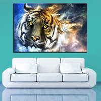 Wholesale tiger pieces art painting pictures for sale - Group buy Modern Home Room Decoration Canvas Painting Pieces HD Prints Tiger Wall Art Animal Modular Pictures Landscape Artwork Poster