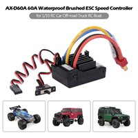 rc boote batterien groihandel-AX-D60A 60A Wasserdicht Brushed Regler ESC für 1/10 RC Car Off-Road LKW RC Boot 2S LiPo 6-8S NiMh Akku