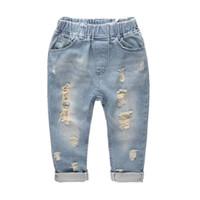 Boys pants Denim Jeans Kids Spring Hole Elastic Waist Jeans Trousers for Boy Clothing Children Trousers