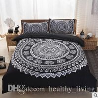 Wholesale peacock bedding resale online - Bohemia Bedding Sets New Luxury King Size Peacocks Elephant Printed Bedding Sets Geometric Quilt Cover Pillow Case Pillow Slip Sets