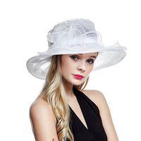 Wholesale white organza wedding hats resale online - Lawliet White Summer Hats for Women Ladies Organza Wide Brim Sun Kentucky Derby Wedding Church Party Floral Hat Cap A002 Y200619