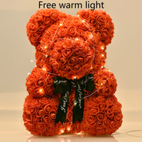 Wholesale white flower foams resale online - Dropshiping cm Bear of Roses with LED Gift Box Teddy Bear Rose Soap Foam Flower Artificial New Year Gifts for Women Valentines