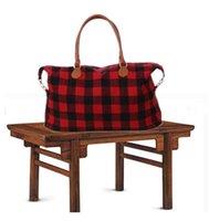 Wholesale large black designer handbags resale online - Check Handbag Large Capacity Travel Tote with PU Handle Red Black Plaid Bags Unisex Sport Fitness Yoga Storage Bags DHB640