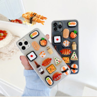 Wholesale apple bread resale online - 3D Cute Clear Sushi Bread Pizza Case For iPhone Case SE X XS MAX Plus Funny Transparent Soft Silicone Glitter Phone Cover