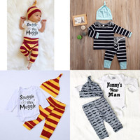 Wholesale baby mustache clothes for sale - Group buy Autumn Baby Striped Clothing Sets Boys Girls Letter Print Long Sleeve top Striped Pants Hat set Mustache Infants Outfits M2277