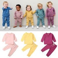 Wholesale baby half pant girl for sale - Group buy 2020 Baby Spring Autumn Clothing Infant Baby Girl Boy Unisex Solid Tracksuit Outfits Long Sleeve Top Pant Clothes Set M T