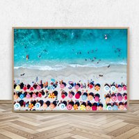 Wholesale beach art paintings resale online - Umbrellas Aerial Beach Photography Canvas Art Print Poster Beach Landscape Painting Wall Picture for Living Room Home Decor