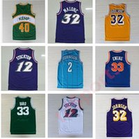 ewing venda por atacado-Retro Basketball Jerseys 33 Larry Bird 12 Johnson Stockton 32 Karl Malone Jason Williams Ewing Gary Payton Kemp Barkley Jersey Ncaa