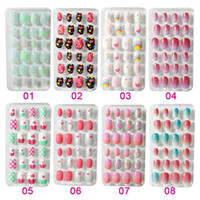 Wholesale yellow acrylic nails resale online - 24PCS Candy False Nail Tips Press On Children Cartoon Full Cover Kid Glue Self Fake Nail Art for Girls Manicure Tips T345