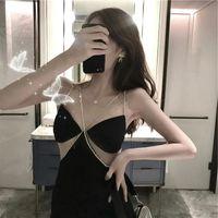 20200728 Mesh cut out hip skirt V-neck black suspender skirt