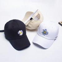 Wholesale south korea baseball hat resale online - South Korea GD same ins hip hop hat children s summer Korean fashion daisy flower men s all match Hip hop Baseball baseball cap cap