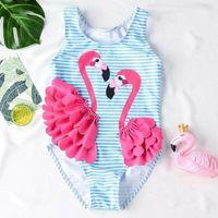 Wholesale 2t one piece bathing suits for sale - Group buy Flamingo Kid Baby Girl One Piece Bodysuit Bikini Swimwear Bathing Suit Swimsuit Beach Summer Girls Clothes