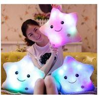 Wholesale cute plush bear pillow resale online - Luminous Cute Pillow cm cm Star Heart Bear Paw Led Light Plush Pillow Night Light Kids Cushion Christmas Toys DHC141