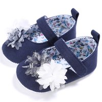 Wholesale baby girl blue jeans resale online - Sweet Baby Princess Shoes Jeans Blue Infants Girl Sneakers Cotton Kids Soft Sole Toddler Flat Slippers First Walkers M