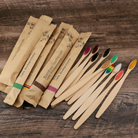 10 Colors Head Bamboo Toothbrush Wholesale Environment Wooden Rainbow Bamboo Toothbrush Oral Care Soft Bristle WCW961
