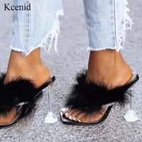 Wholesale feather slippers for sale - Group buy Kcenid Summer woman slippers feather transparent perspex crystal high heels rhinestone flip flops mules ladies slides shoes new