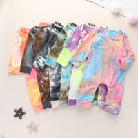 Wholesale yellow baby clothing resale online - Baby Boys Girls Born Jumpsuits Tie dyed Clothing Long Sleeve Autumn Romper New Fashion Designer Clothes