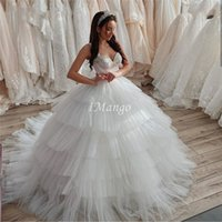 Wholesale fall wedding cakes resale online - Chic Tiered Skirt Ball Gown Wedding Dresses Spaghetti Straps Beaded Lace Up Back Arabic Princess Cake Mariage Gowns Court Train Plus Size