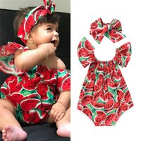 Wholesale sweet watermelon for sale - Group buy Baby Girl Clothes Newborn New born Sleeveless Watermelon Printing Bodysuit Sweet Headband Outfits