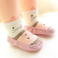 Wholesale baby cartoon socks shoe resale online - Cotton Soft Baby Shoes Cartoon Kitty Toddler Girls Shoes Infant Boys First Walkers Baby Floor Socks
