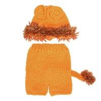 Wholesale handmade baby outfits resale online - 2pcs Baby Lion Crochet Hat Pants Costume Photo Props Cute Handmade Outfit Baby Photography Props Hat Fotografia Accessories