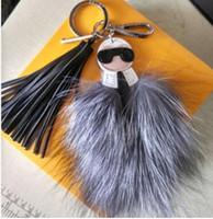 Wholesale monster keychain resale online - luxury logo Fluffy Karl Genuine Raccoon Fur Pompom Monster Bag Bugs Charm Keychain Plush Key Ring Leather Tassel Pompom
