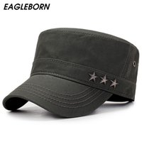 Wholesale star military hats for sale - Group buy EAGLEBORN Army Stars Flat Top Mens Women Caps Hat Adjustable Casual Military Hats for Men Snapback Cadet Military Patrol T200720