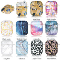 Wholesale airpods covers online – custom new Luxury coloful Universal Marble geometry TPU Case For Airpods Full Protective Cover For Airpod st nd Generation Shockproof Cover