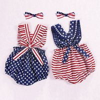 Wholesale 4th of july romper resale online - Newborn Infant Baby Girls th of July Stars Striped Patriotic Backless Romper Baby Girls Clothes Rompers amp Clothing P35