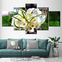 Wholesale green living pictures for sale - Group buy Poster Modular Canvas Pictures Art HD Printed Pieces White Flowers And Green Leaves Paintings Decoration Home Living Room Wall