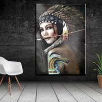 Wholesale indian abstract art paintings for sale - Group buy Fashion Indian Woman Feathered Abstract Canvas Painting Home Decoration Portrait Poster Prints Canvas Art Picture for Living Room Wall Decor