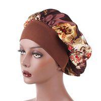 Wholesale flower belt elastic for sale - Group buy Fitted Hats Printing Flowers Silk Satin Hair Bonnets Wide Edge Flexible Stretch Belt Women Hat Elastic Ponytail Cap yd C2
