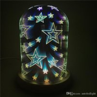 Wholesale table lamp cover resale online - 3D glass cover magic lights tree silver flower LED bedside bedroom decoration table lamp starry lamp creative night light