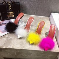Wholesale feather slippers for sale - Group buy Summer Woman Pumps PVC Transparent Feather Perspex Crystal High Heels Fur Peep Toe Mules Slippers Ladies Slides Shoes