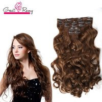 Wholesale hair extensions clips curl for sale - Group buy Greatremy quot Body Wave Full Head Clip In Hair Extensions Hairpiece Synthetic Hair Weft Colors b J