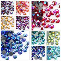 Multi-color Crystal Loose Beads AB Hot Fix Rhinestone Crystal Super Glitter Strass Iron On Rhinestones For Nail Art Fabric Garment SS4-12