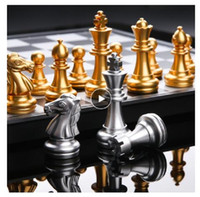 Wholesale checker boards resale online - Medieval International Chess Set With Chessboard Gold Silver Chess Games Pieces Magnetic Board Game Chess Figure Sets Checker