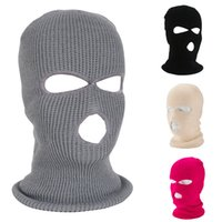 Wholesale warrior face mask for sale - Group buy 2 Hole Hole Full Face Mask Knitted Headgear Windproof Full Face Cover Winter Warm Ski Hat Army Warrior Cap Party Mask IIA375