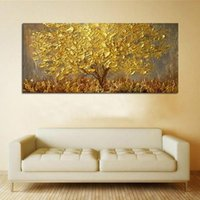 Wholesale oil paintings trees resale online - Golden Trees with Yellow Leaves Abstract Canvas Oil Painting Modern Wall Art Pictures Retro Plant Poster Prints Home Decor Wall Decoration
