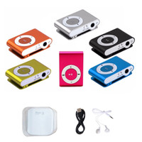 Wholesale mini clip mp3 player without screen resale online - Mini Clip MP3 player without Screen colors support Micro SD TF card with earphones headphones usb cable retail box DHL Shipping