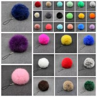 Wholesale pendant supplies resale online - Pompom Keychain Fluffy Fur Pom Pom Soft Fur Ball Car Keyring Key Chains Key Holder Women Bag Pendant Jewelry Party Favor Supplies RRA3352