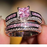 Wholesale simulated diamond engagement rings white gold resale online - 001 Victoria Wieck Princess cut Pink sapphire Simulated diamond KT White Gold Filled engagement Wedding Band Ring Set Sz Gift